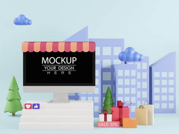 Maquette d'ordinateur à écran blanc pour les ventes en ligne