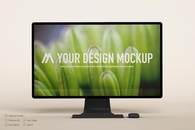 Maquette d'ordinateur isolée sur une couleur douce