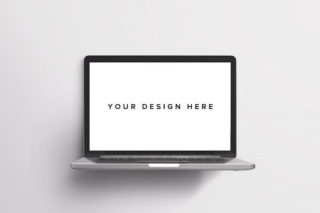 Maquette d'ordinateur portable sur blanc