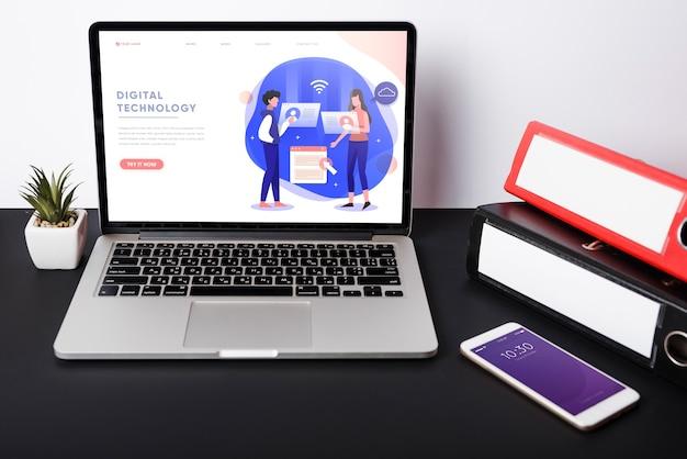 Maquette d'ordinateur portable avec le concept d'entreprise