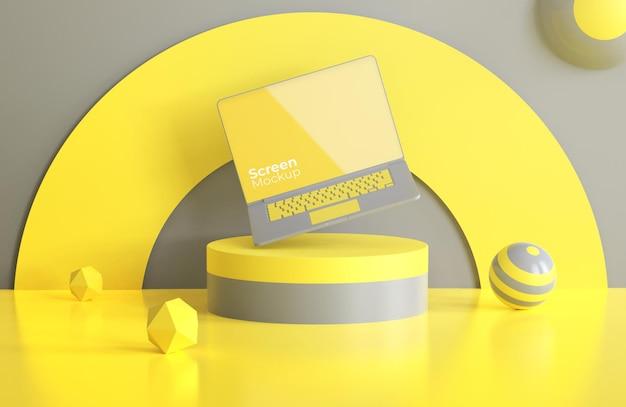 Maquette d'ordinateur portable avec la couleur de l'année