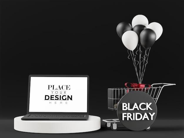 Maquette d'ordinateur portable à écran blanc pour le vendredi noir