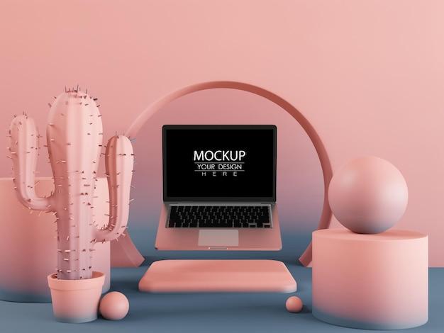 Maquette d'ordinateur portable à écran blanc