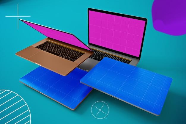 Maquette d'ordinateur portable flottant abstraite
