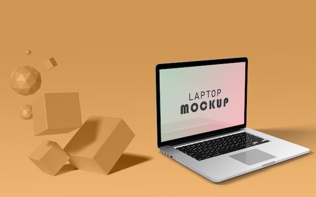 Maquette d'ordinateur portable flottant avec fond pop psd gratuit
