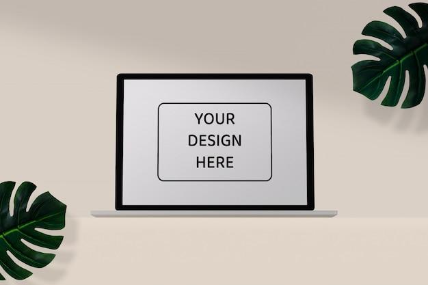 Maquette d'ordinateur portable minimale avec ombre