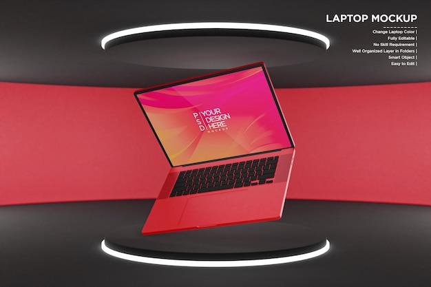 Maquette d'ordinateur portable avec néons