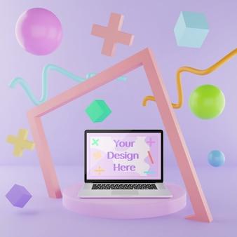 Maquette de l'ordinateur portable sur le podium avec des éléments abstraits couleur 3d illustration pastel