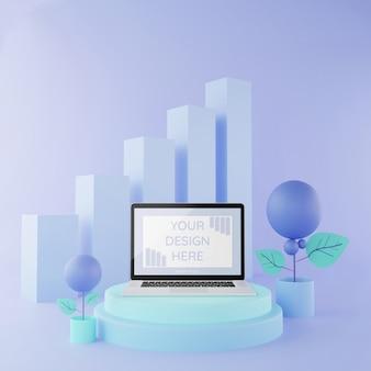 Maquette de l'ordinateur portable sur podium illustration 3d couleur pastel, maquette infographique