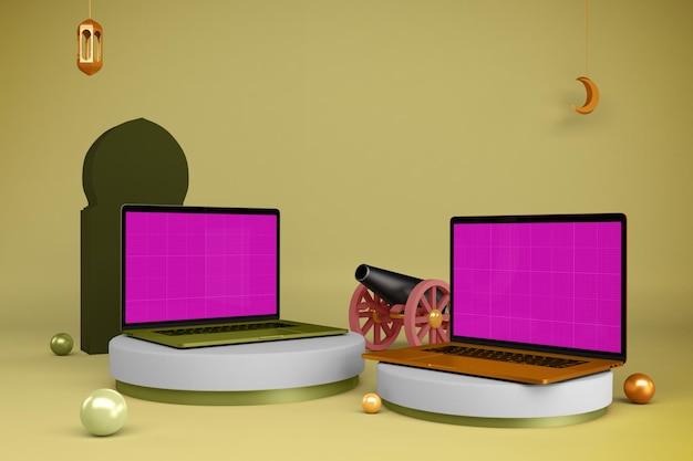 Maquette d'ordinateur portable ramadan