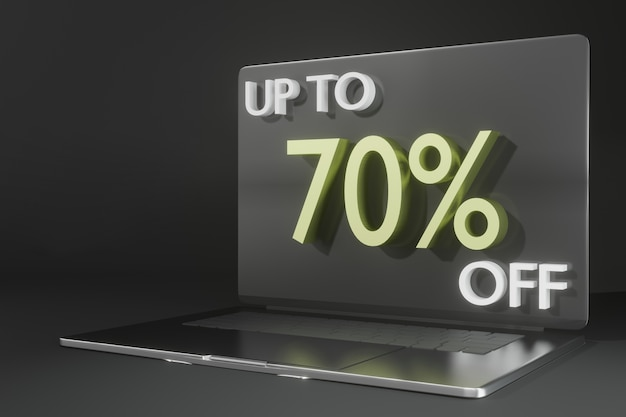 Maquette d'ordinateur portable de rendu 3d pour le thème des achats en ligne de promotion blackfriday