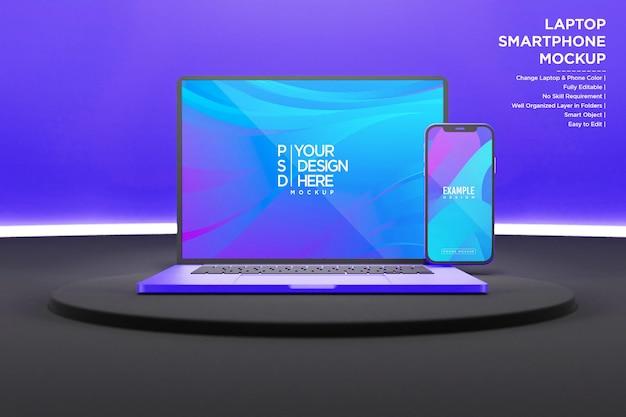 Maquette d'ordinateur portable et de smartphone avec néon