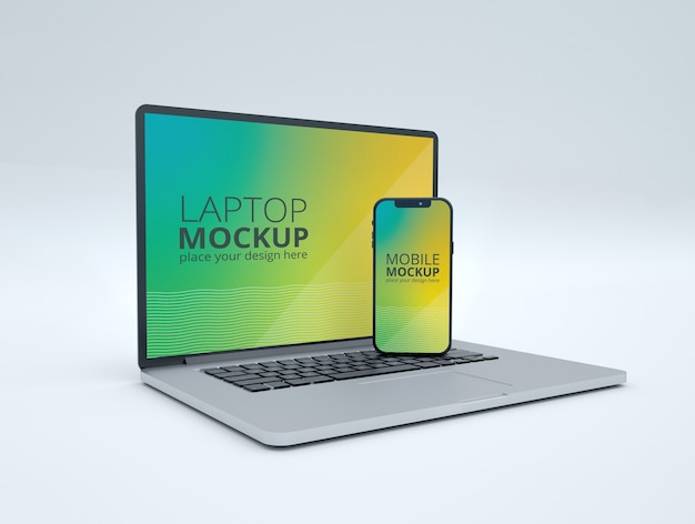 Maquette d'ordinateur portable et de téléphone intelligent isolé