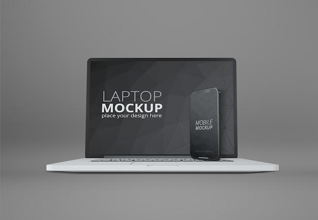 Maquette d'ordinateur portable et de téléphone intelligent