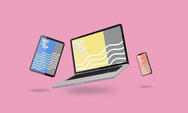 Maquette d'ordinateur portable, de téléphone et de tablette volante