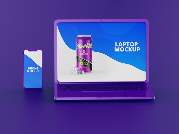 Maquette d'ordinateur portable avec téléphone
