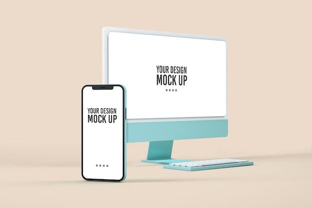 Maquette d'ordinateur et de smartphone