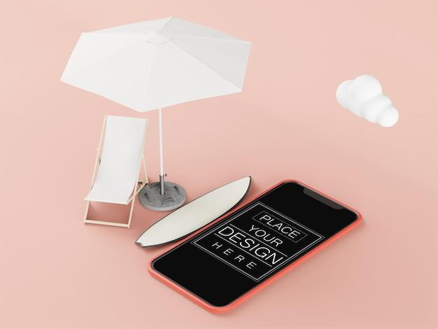 Maquette d'ordinateur de téléphone intelligent d'écran blanc. concept de vacances