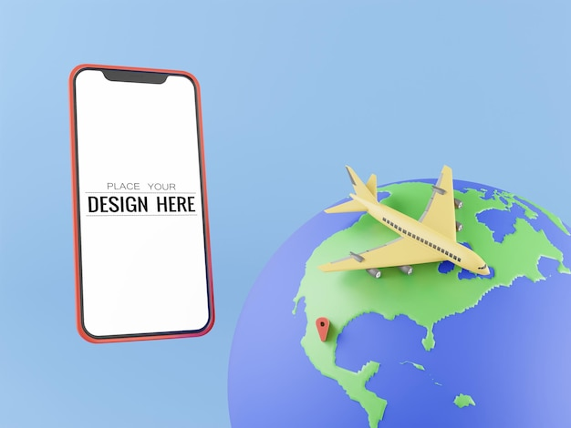 Maquette d'ordinateur de téléphone intelligent d'écran blanc. concept de voyage