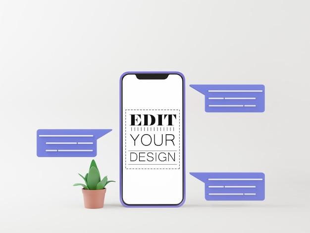 Maquette d'ordinateur de téléphone intelligent à écran blanc pour application mobile