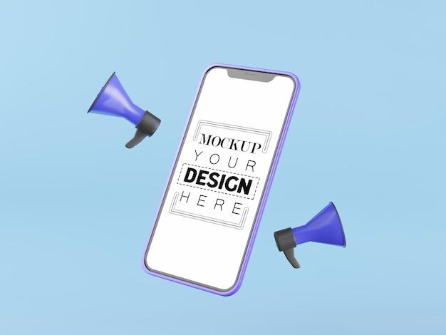 Maquette d'ordinateur de téléphone intelligent à écran blanc