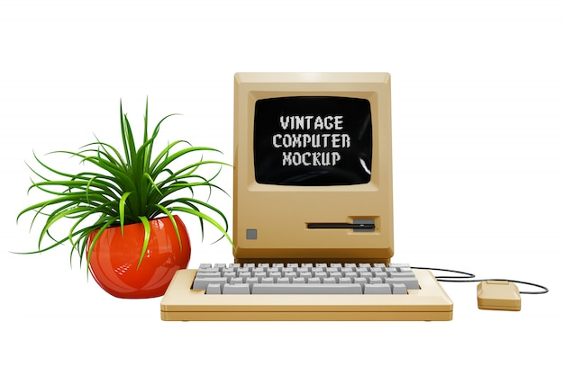 Maquette d'ordinateur vintage isolée