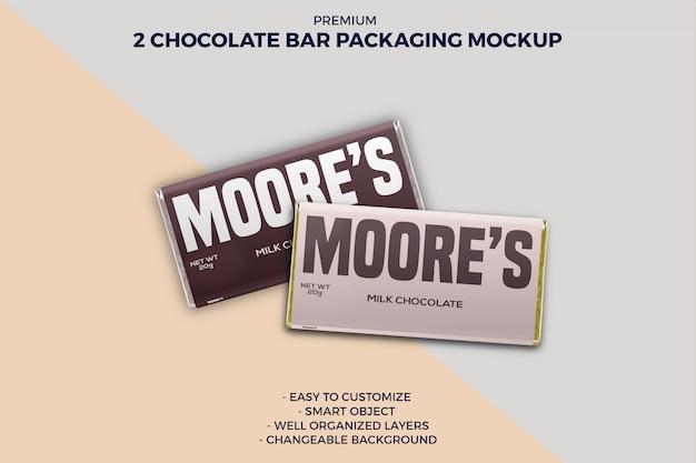 Maquette de pack de barres de chocolat à deux saveurs différentes