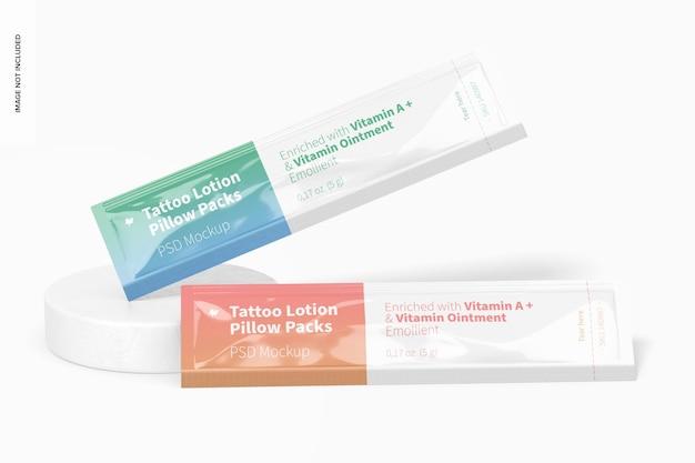 Maquette de packs d'oreillers de lotion de tatouage