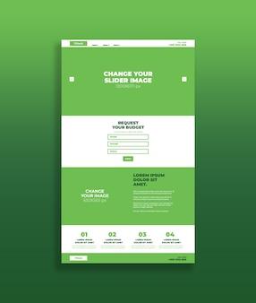 Maquette de la page d'atterrissage verte
