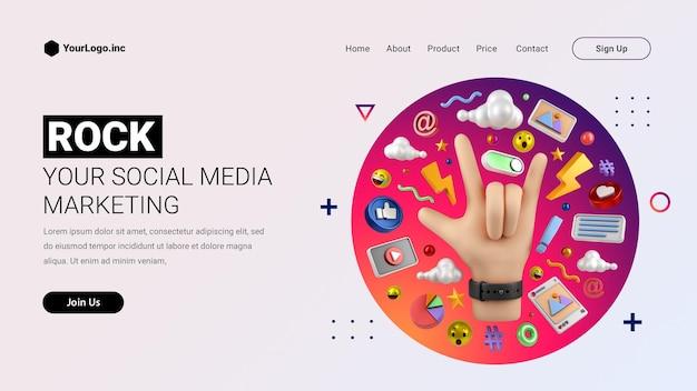 Maquette de page de destination pour le marketing des médias sociaux