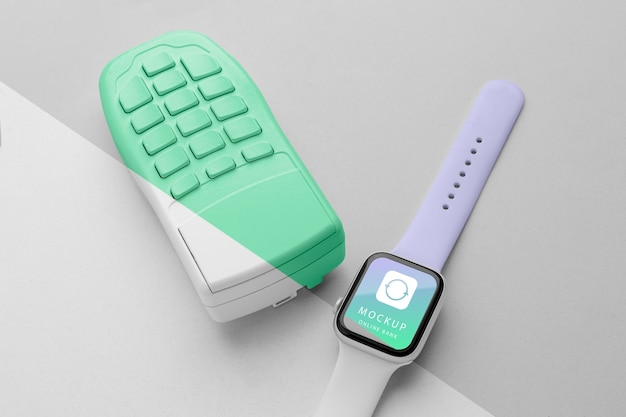Maquette de paiement électronique avec smartwatch