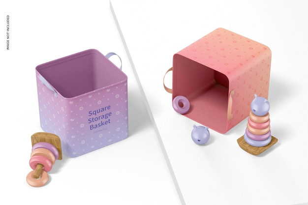 Maquette de paniers de rangement carrés, perspective