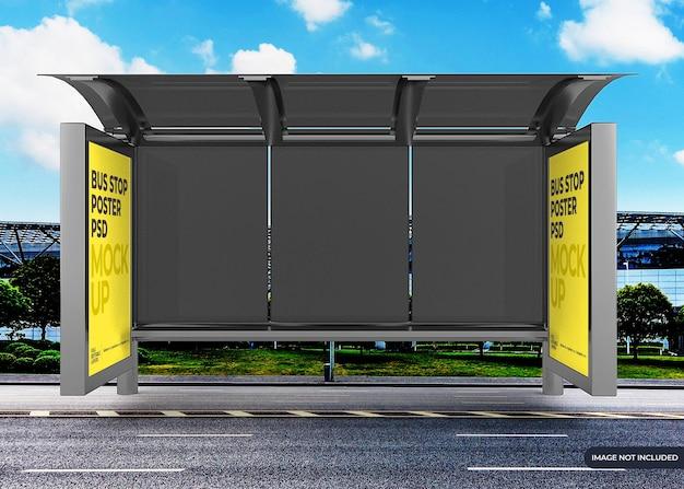 Maquette de panneau d'affichage d'arrêt de bus de la ville réaliste