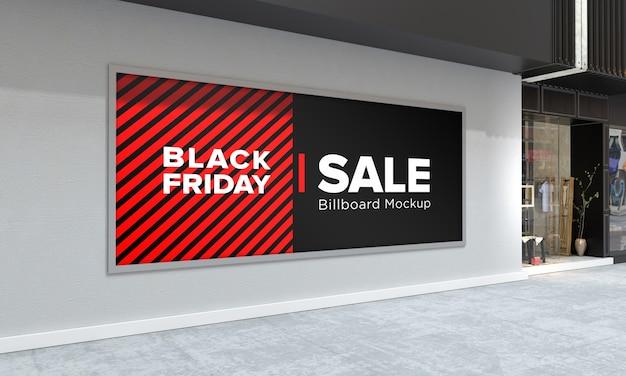 Maquette de panneau d'affichage sur le centre commercial avec bannière de vente vendredi noir