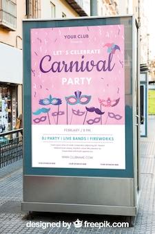 Maquette de panneau d'affichage avec le concept de carnaval