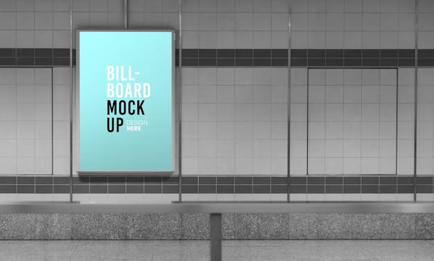 Maquette de panneau d'affichage dans le métro ou la station de métro, utile pour la publicité.