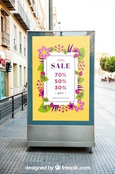 Maquette de panneau d'affichage dans la rue