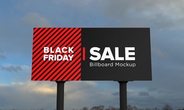 Maquette de panneau d'affichage de deux sondages avec bannière de vente vendredi noir