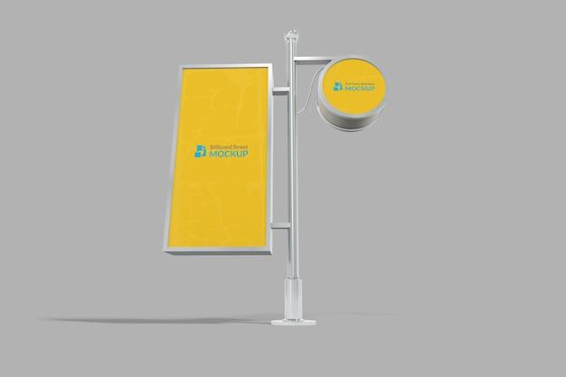 Maquette de panneau d'affichage réaliste 3d avec arrière-plan modifiable