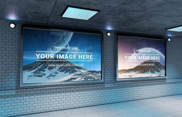 Maquette de panneau d'affichage souterrain horizontal