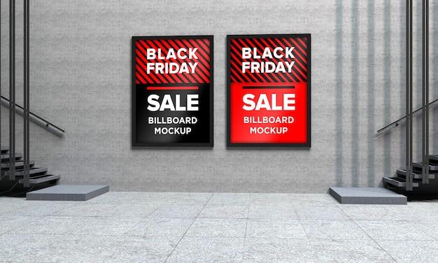 Maquette de panneau à deux panneaux dans un centre commercial avec bannière de vente black friday