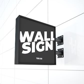 Maquette de panneau de logo suspendu carré moderne