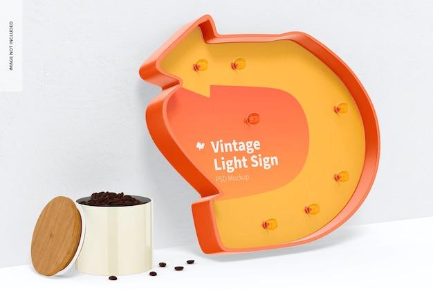Maquette de panneau lumineux vintage, penchée