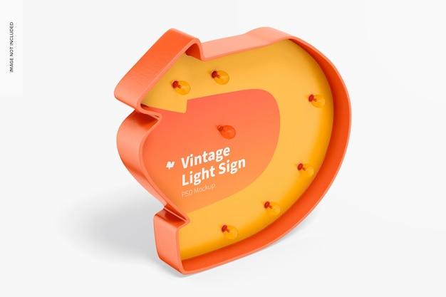 Maquette de panneau lumineux vintage, vue de gauche