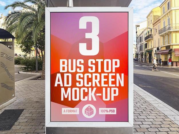 Maquette de panneau publicitaire pour arrêt de bus