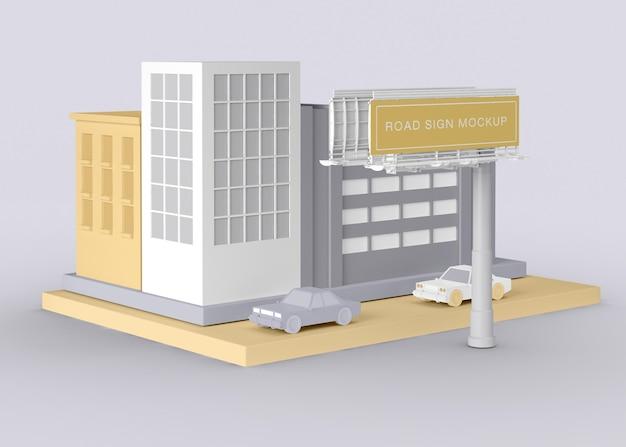 Maquette de panneau de signalisation annonce extérieure
