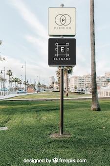 Maquette de panneau de signalisation de deux