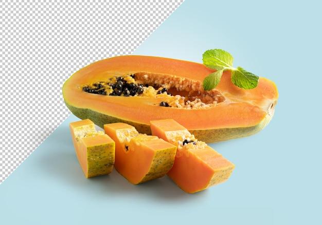 Maquette de papaye ouverte en deux et en tranches