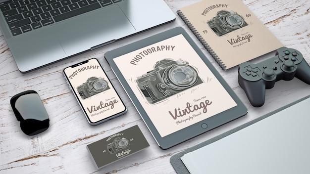 Maquette de papeterie avec concept de photographie vintage