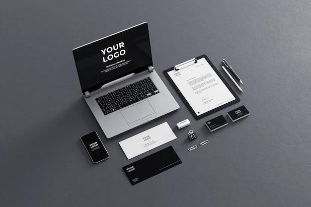 Maquette de papeterie pour entreprise noir gris
